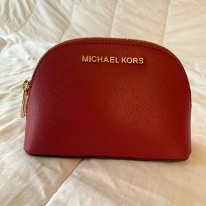 Michael kors red leather cosmetic bag